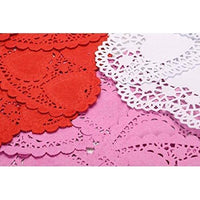 300 PCS Mini Paper Lace Heart Doilies Red Pink White ,4""