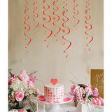 Heart Swirl Hanging Foil String Dizzy Danglers-Valentine's Day Party Decorations Ornaments/10 Count