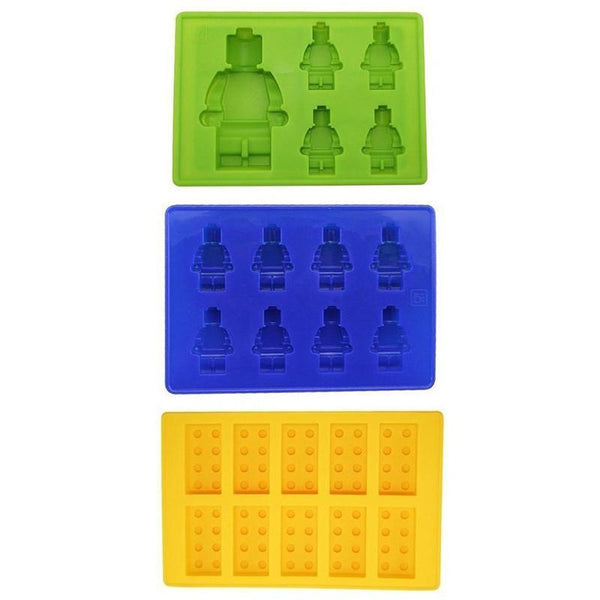 Jollylife Yellow Building Brick & Blue & Green Multi-size Minifigure Silicone Ice Tray Candy Mold Set