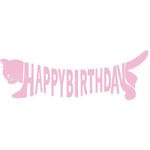 Happy Birthday Pink Banner Cat Shaped Party Decorations Bunting Flag