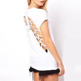 Fashionable Casual Women Laser Angel Wings Backless T -Shirt