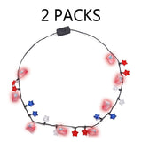 2PCS 4th/Fourth of July Flashing Light Up Patriotic Star Necklace - Party Favors Ornaments Supplies - Happidtime