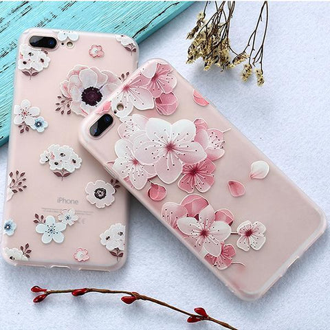 3D Flower Emboss Case For iPhone 7 6 6s 8 Plus for iPhone 6 Case Patterned Soft Silicone TPU Back Cover For iPhone 7 x Case - Happidtime