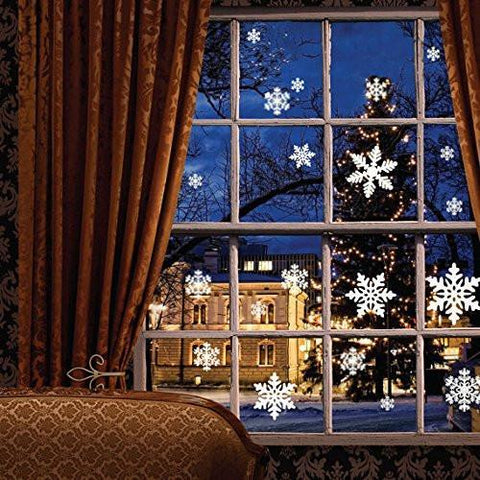 81 pcs White Snowflakes Window Clings Decal Stickers Christmas Decorations Ornaments (3 Sheets)