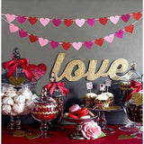 Glitter Heart Garland Ribbon Banner Red Pink Rosy - Happidtime