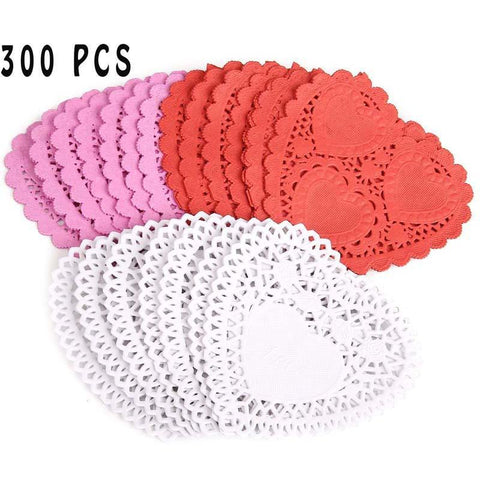 "300 PCS Mini Paper Lace Heart Doilies Red Pink White ,4"" - Happidtime"