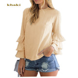 Fashion  Women Folding Long-Sleeved Chiffon Blouse