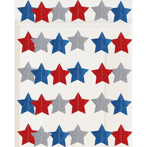 Fourth/4th of July Star Decorations Garland Streamers String Curtain- Patriotic Party Supplies - Happidtime