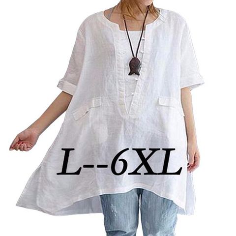 Ladies Plus size Casual Loose Long Tops