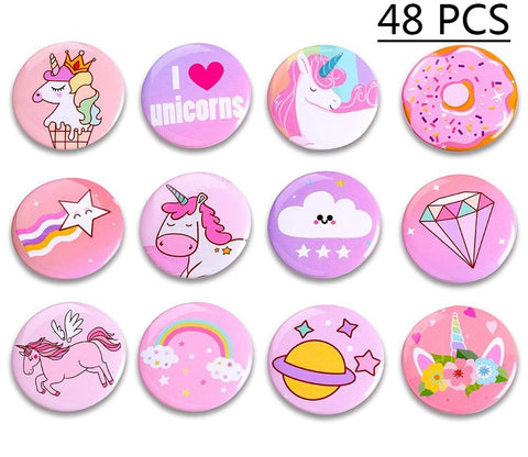 Geefuun Unicorn Pins Birthday Party Favors Decorations Girl Gift Badges Magical Rainbow Cards Supplies