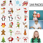 144PCS Assorted Christmas Temporary Tattoos Stocking Stuffers - Xmas Kids Goodie/Gift bags favors