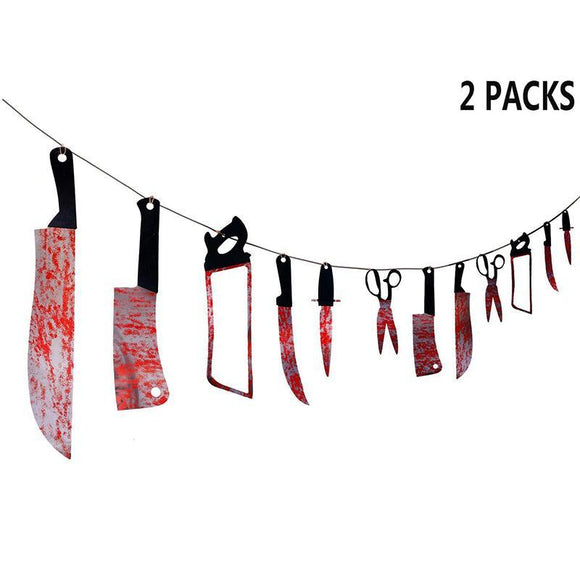 2PCS Halloween Bloody Weapons Garland Banner Decorations