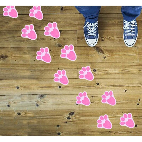 24PCS Easter Bunny Paw Prints Home Floor Clings Decals Stickers-Party Decorations Ornaments