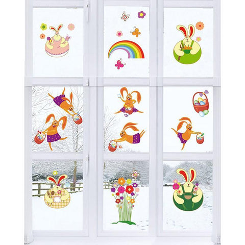 69 pcs Easter Window Clings Static Stickers Bunny Rabbits Egg Decorations - Happidtime