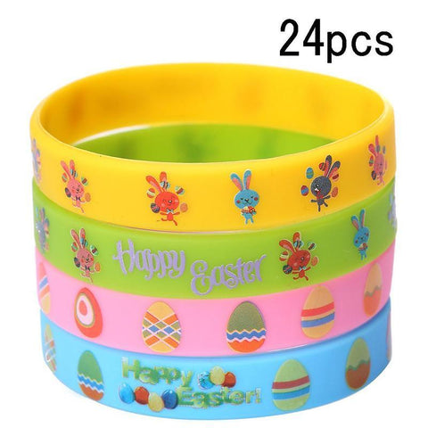 Easter Day Rubber Slicone Wristbands Bracelets - Bunny Egg Filler Party Decorations - Happidtime