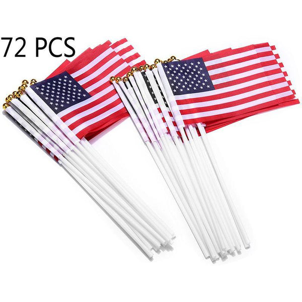 72 PCS American USA Flags Hand Held Stick