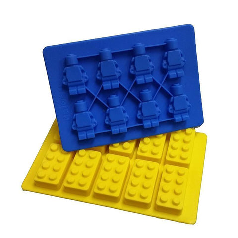 Jollylife Building Bricks and Minifigure Ice Cube Tray or Candy Chocolate Crayon Mold --For Lego Lovers - Happidtime