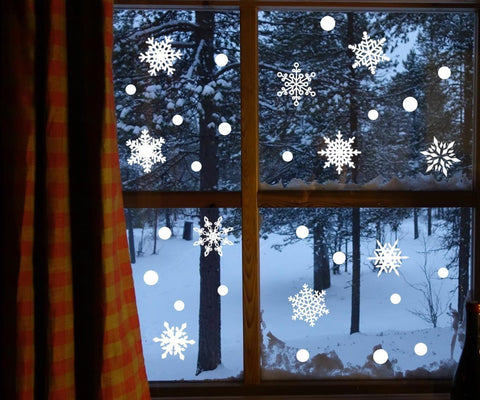207PCS Snowflake Window Clings Decorations - Xmas Party Decals Stickers Ornaments - Happidtime
