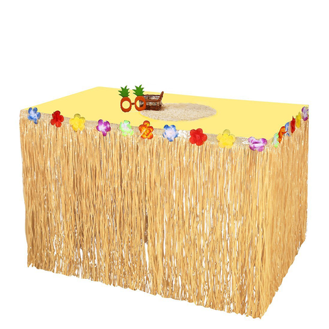 Luau Hawaiian Grass Table Skirts Hibiscus Tropical Flowers Birthday Party Decorations Supplies - Happidtime