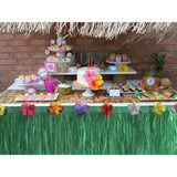2PCS Hawaiian Luau Table Skirt Decorations Grass Hula - Hibiscus Tropical Pool Birthday Party Supplies