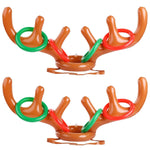 Inflatable Reindeer Ring Toss Game - Christmas Xmas Holiday Party Favors Antler Toys