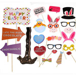 Easter Photo Booth Props - Party Decorations Ornaments - Bunny Ears Egg Noses Chocolate Glasses Lips Necktie ¡­