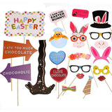 Easter Photo Booth Props - Party Decorations Ornaments - Bunny Ears Egg Noses Chocolate Glasses Lips Necktie ¡­ - Happidtime