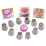 Make Flowers In Seconds! Russian Icing Piping Tips Cake Pastry Decorating Nozzle Kit (10 PCS)+1 Coupler - Happidtime