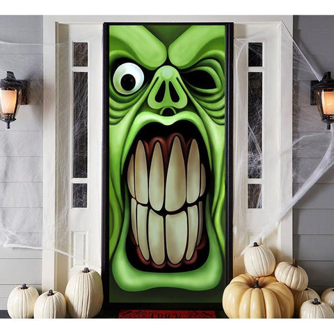 Halloween Haunted House Green Goblin Door Cover - Happidtime