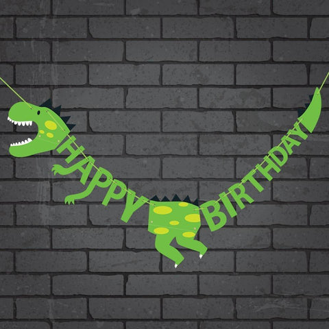 Dinosaur Happy Birthday Banner Party Supplies Decorations - Dino Jungle Jurassic Garland (Green) - Happidtime