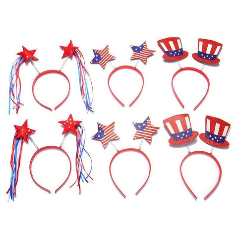 Patriotic Head Boppers Headband - Star/Uncle Sam Hat- Fourth/4th of July Party Accessories - Happidtime