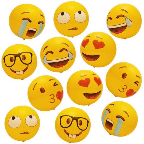 "Geefuun 12"" Emoji Beach Balls Inflatable Pool Party Games Supplies Birthday Toys Favors 12 PCS"
