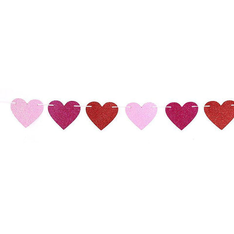 Glitter Heart Garland Ribbon Banner Red Pink Rosy