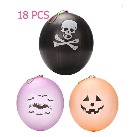 18 PCS Punch Balls Punmkin Bat Skull Design - Halloween Party Favors Decoration Supplies - Happidtime