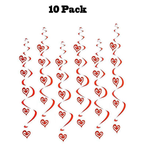 Heart Swirl Hanging Foil String Dizzy Danglers-Valentine's Day Party Decorations Ornaments/10 Count - Happidtime