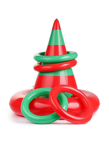 Christmas Inflatable Ring Toss Game - Elf Hat Holiday Xmas Kid's School Party Favors Toys - Happidtime