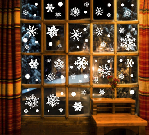 190+Christmas Snowflake Window Clings Decorations - Xmas Stickers Decals Ornaments - Happidtime