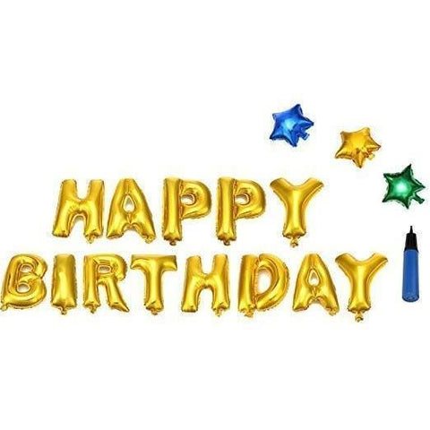 "Foil Balloons ""Happy Birthday"" Gold Letters Stars ,with a pump - Party Banner Decoration Supplies - Happidtime"