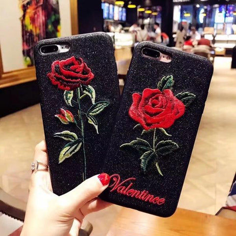 Rose Embroidery Case Covers For iPhone 6 7 8 Plus X - Happidtime