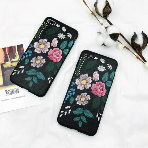 Vintage Art Roses Phone Case For iphone X Case For iphone 6 6S 7 8 Plus - Happidtime