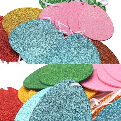 Glitter Easter Egg Banners Garland Ribbon -- Party Decorations Ornaments Supplies
