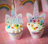 Unicorn Cupcake Toppers Wrappers - Birthday Party Cupcake Decorations Supplies