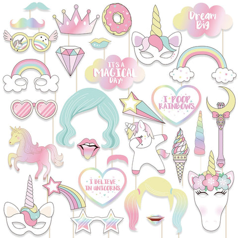 30PCS Unicorn Photo Booth Props - Rainbow Birthday Party Supplies Decorations