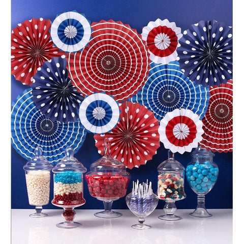 Fourth of July Patriotic Decorations - Red White Blue Hanging Paper Fans - 4th of July Party Favors - Happidtime