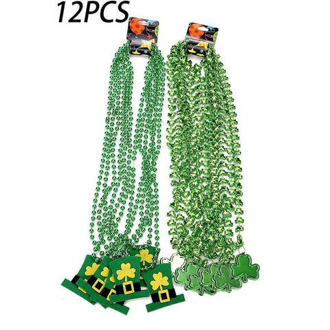 St. Patrick's Day Shamrock Clover Green Bead Necklace