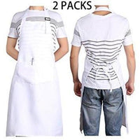 "2 PCS White Bib Chef Apron 28"" X 35"" for Kitchen Cooking - Adjustable Neck Strap - 2 Pockets"