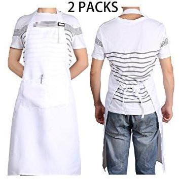 "2 PCS White Bib Chef Apron 28"" X 35"" for Kitchen Cooking - Adjustable Neck Strap - 2 Pockets - Happidtime"