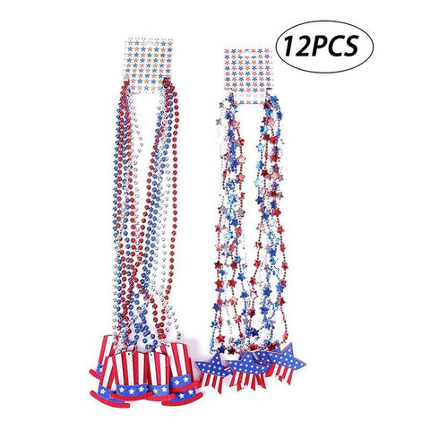 Patriotic Metallic Star Bead Necklaces Uncle Sam Hat- Fourth/4th of July Party Favors Supplies Decorations - Happidtime