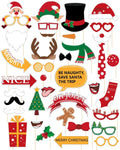 60Ct Christmas Photo Booth Props - Xmas/Holiday Party Decorations Funny Santa Reindeer Snowman Supplies