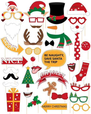 60Ct Christmas Photo Booth Props - Xmas/Holiday Party Decorations Funny Santa Reindeer Snowman Supplies - Happidtime